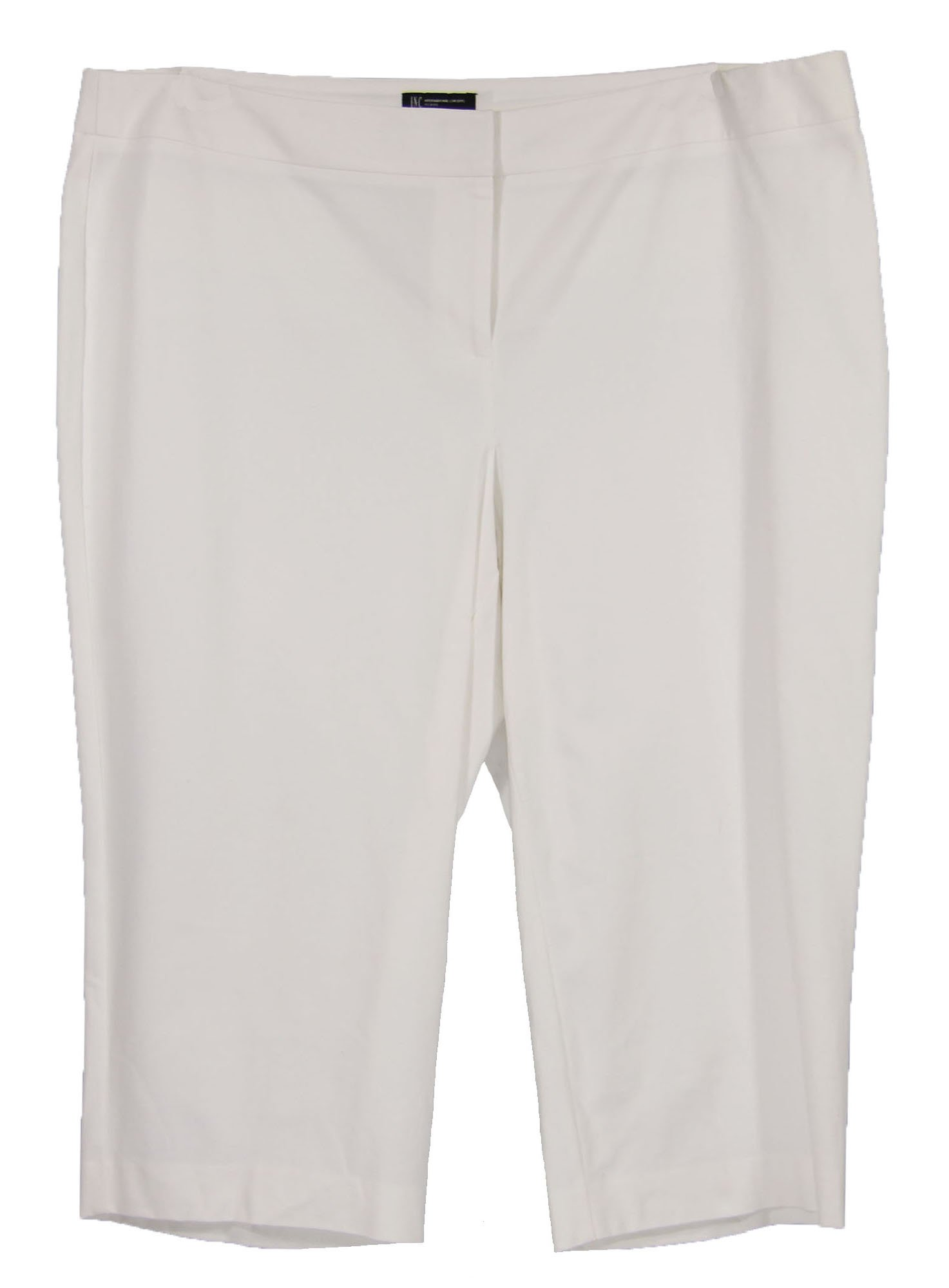 INC Women's Plus Size Straight Leg Capri Pants 20w White