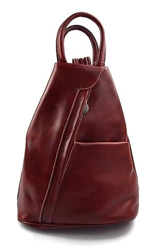 e228732df13f Leather backpack ladies mens lether sportsbag gym bag shoulder bag sling  backpack satchel hobo bag genuine calf leather red  Amazon.ca  Handmade