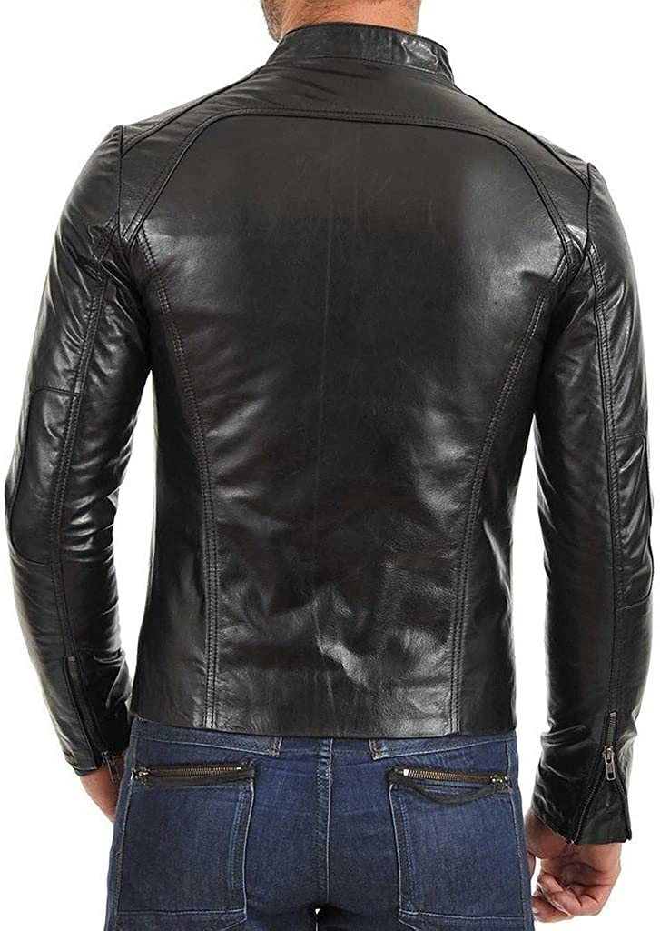 Slim Fit Stylish Men Biker Motorcycle Zipper Casual Leather Jacket KL698