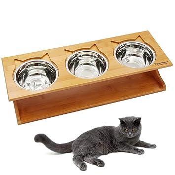 Petilleur Cuenco Elevado para Gatos Perros Comedero Gato Perro Elevado con Soporte de Bambú (3 Cuenco, Acero Inoxidable)