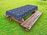 Lunarable Mosaic Outdoor Tablecloth, Portuguese Azulejo Moroccan Culture Ceramic Tiles European Arabian Oriental, Decorative Washable Picnic Table Cloth, 58 X 120 Inches, Purple Teal Yellow