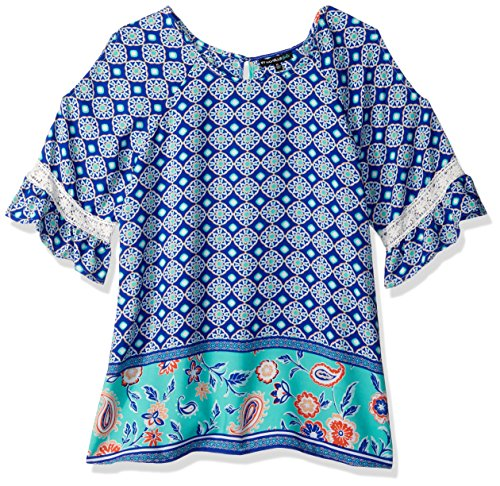 My Michelle Girls' Big Printed Cold Shoulder Top with Keyhole Back, Mint, M (Michelle My Clothes)
