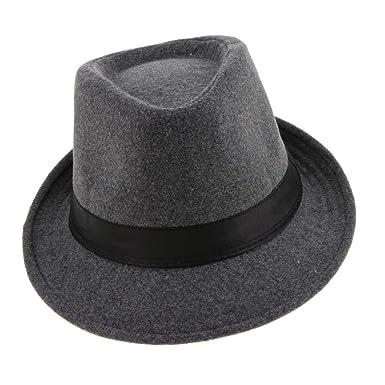 7ad6335434c79 Phenovo Vintage Men Jazz Hard Felt Hat Winter Warm Short Brim Fedora Trilby  Panama Hat Gangster