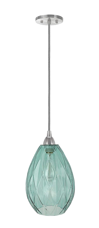 7 Wide Pendant Transitional Design in Satin Nickel Finish Aspen Creative 61099-11 Adjustable One Mini Ceiling Light Green Glass Shade