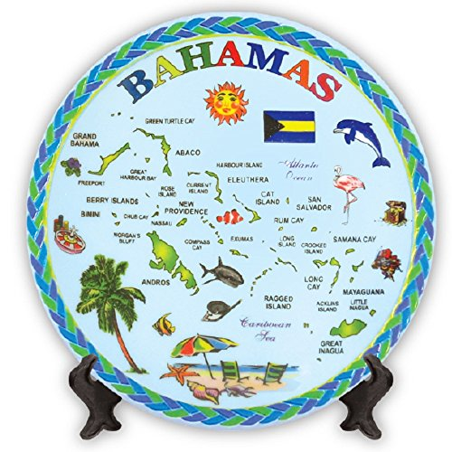 Rockin Gear Decorative Mini Plate - Bahamas Blue Map Souvenir and Gift Decorative Collectible Plate with Display Stand 5