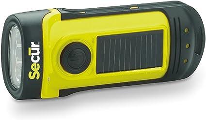 Sécur Dynamo Solaire 8 Lm étanche DEL rechargeable lampe de poche jaune