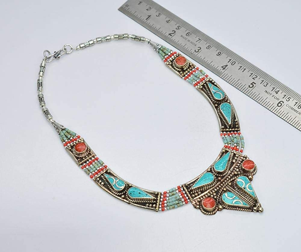 VICTORIANJEWELS 925 Tibetan Silver RED Coral Turquoise Necklace 16.10 INCH