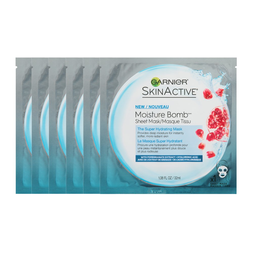 Garnier SkinActive Super Hydrating Sheet Mask, Hydrating, 6 Count 6 Count