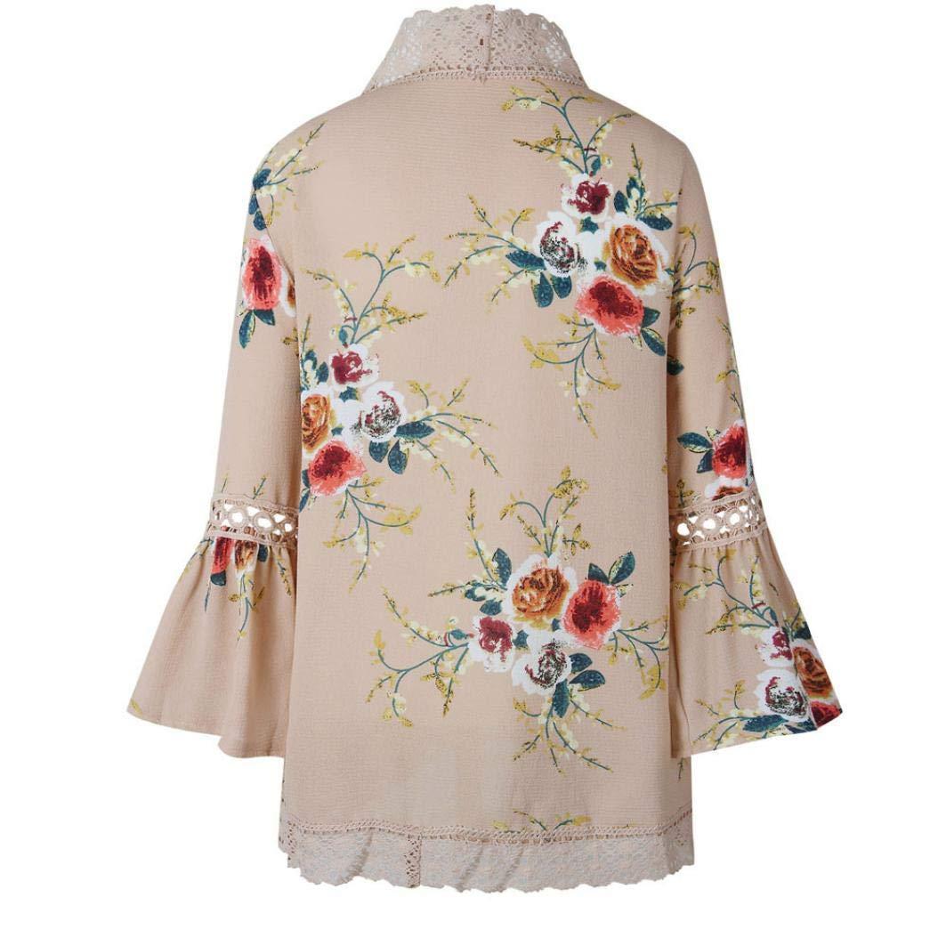 Overdose Nuevas Mujeres De Encaje Floral Open Cape Casual Coat Loose Blouse Kimono Jacket Cardigan Invierno Abrigo: Amazon.es: Ropa y accesorios