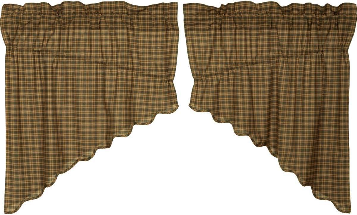 VHC Brands Rustic Lodge Kitchen Window Curtains-Barrington Scalloped Prairie Swag Pair, Deep Green