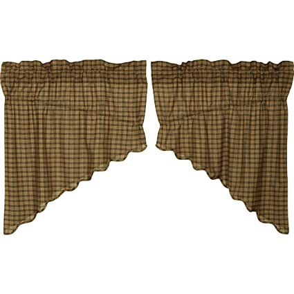 VHC Brands Barrington Prairie Swag Scalloped Lined Set of 2 36x36x18