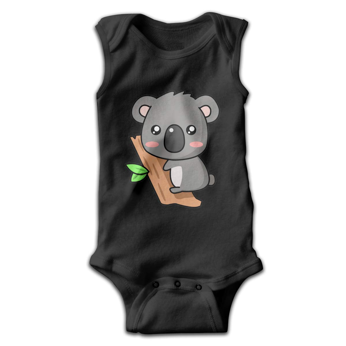 Cute Koala Newborn Crawling Suit Sleeveless Romper Bodysuit Onesies Jumpsuit Black