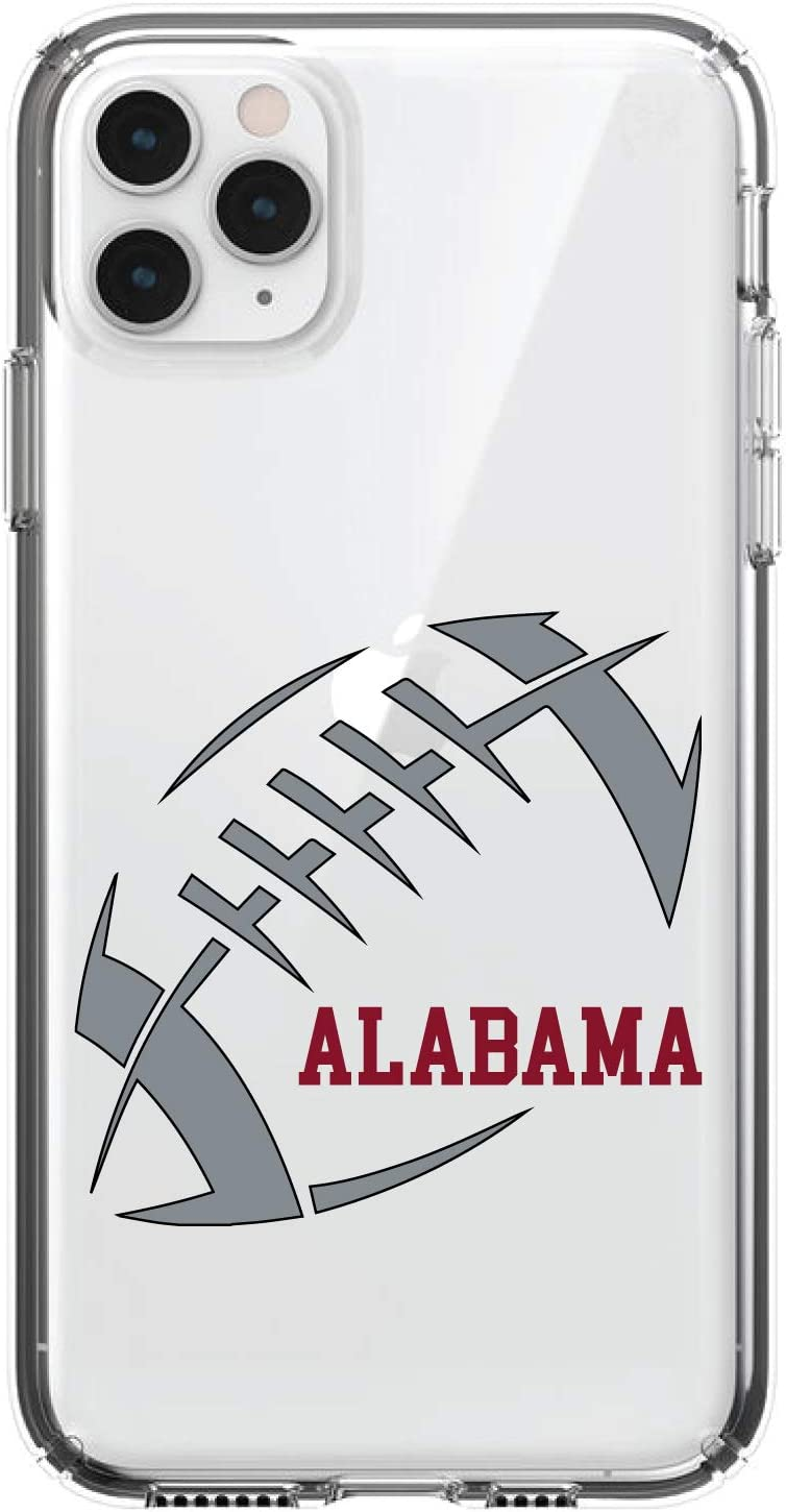5.8 Screen Acrylic Back Gray DistinctInk Clear Shockproof Hybrid Case for iPhone 11 Pro Crimson Tempered Glass Screen Protector Alabama Football - TPU Bumper