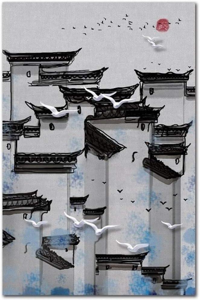 TYLPK Cartel de Arte de Lienzo arquitectónico Simple de Estilo Chino Retro A3 50x70cm Sin Marco: Amazon.es: Hogar