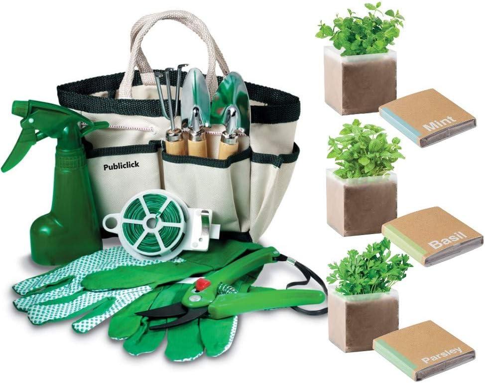 Kit semillas menta, albahaca y perejil con elegante, pequeño y domestico set de herramientas indispensables de cultivo, bolsa herramientas con 7 utensilios