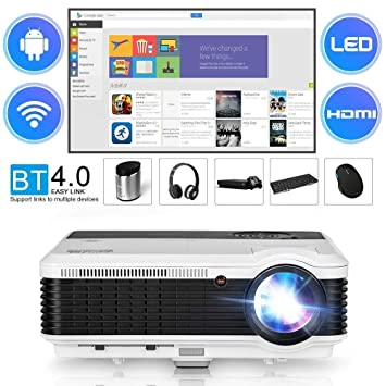 CAIWEI Bluetooth Video Projector HD 1080P, 2019 Android Home Theater Projectors 3900 Lumen LCD LED Multimedia Outdoor Indoor WiFi Proyector with HDMI ...