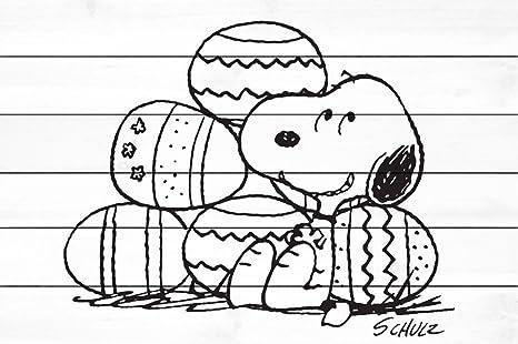 Peanuts Snoopy Con Uova Di Pasqua Pittura Stampa Su Legno Bianco