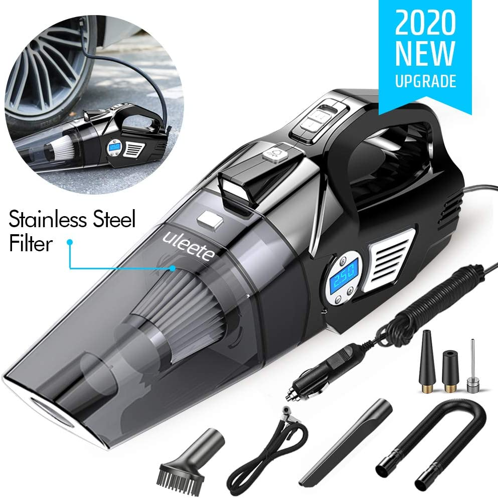 Uleete 2 in 1 Portable Car Vacuum Cleaner with Digital Air Compressor Pump, Auto Shut Off Feature, High Power 6000PA Handheld Vacuum w/Light, 14.8FT Power Cord, for Wet/Dry Use, Stainless Steel HEPA