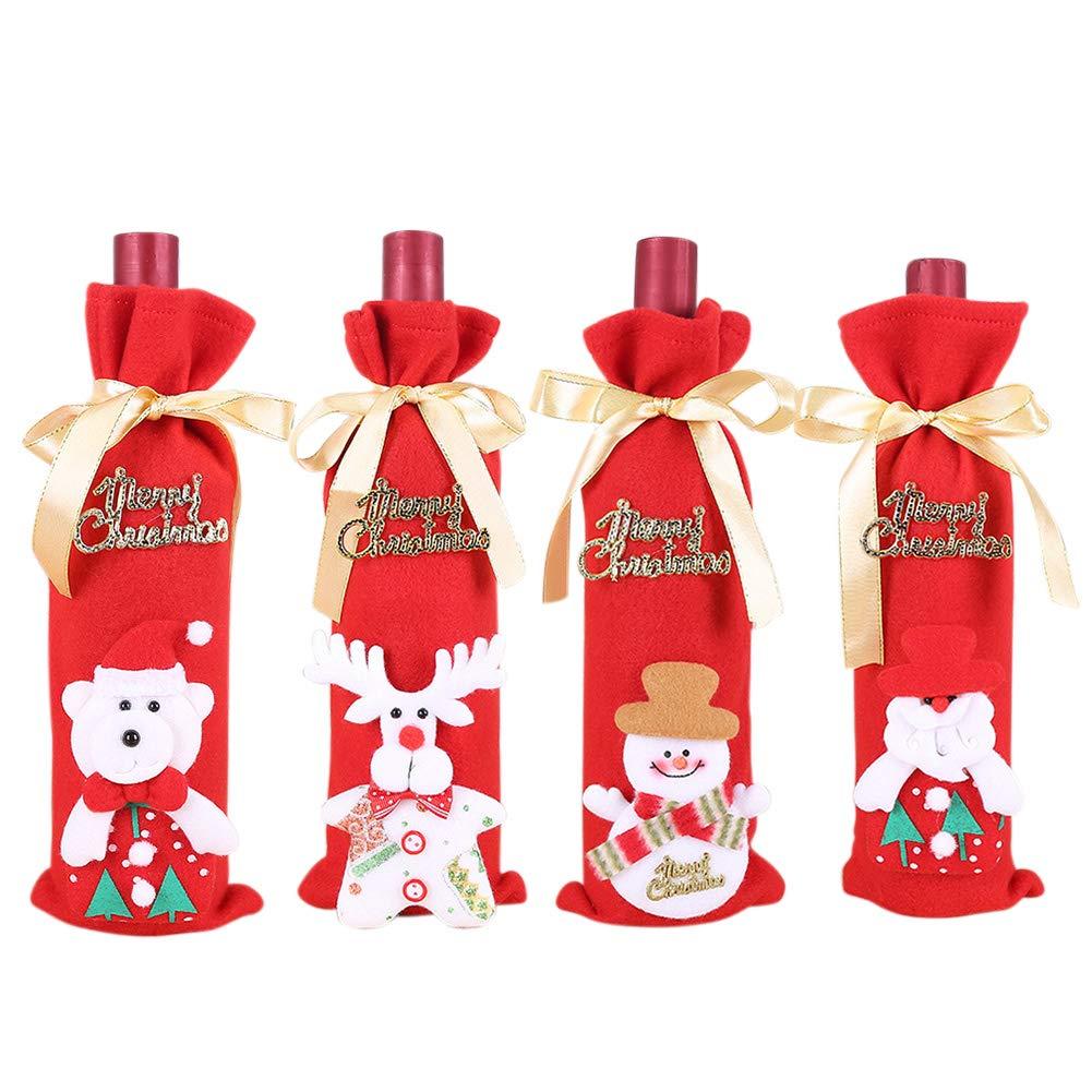4 PCS Natale Copertura della Bottiglia di Vino Borse, Sacchetti Regalo di Bottiglia di Vino di Natale, Sacchetti di Copertura di Bottiglia di Vino Rosso di Natale Pupazzo di Neve Pupazzo di Neve Vidillo