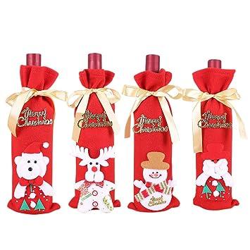 4 Navidad Vino Rojo de Papá Noel Cubierta Botella Bolsas, Bolsas para Cubrir Botellas de