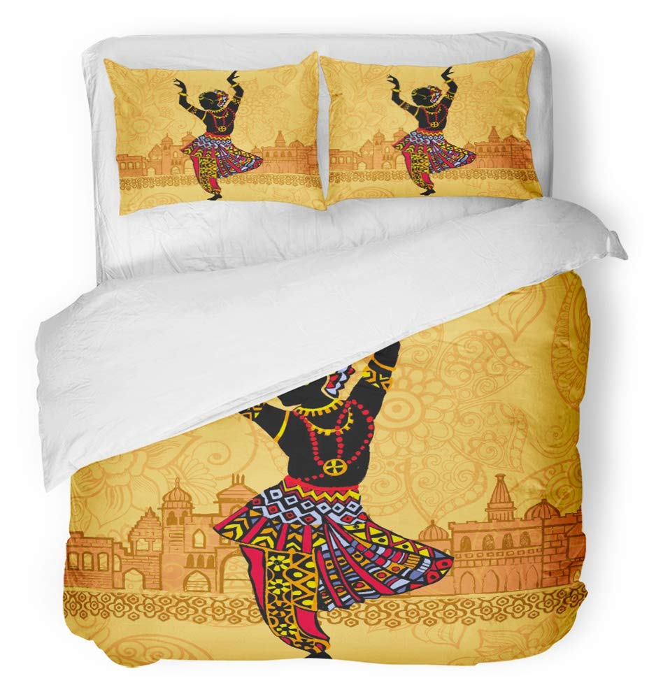 Emvency Bedsure Duvet Cover Set Closure Printed Decorative Colorful Dance Indian Woman on the of Architecture India Red South Culture City Breathable Bedding Set With 2 Pillow Shams Full/Queen Size