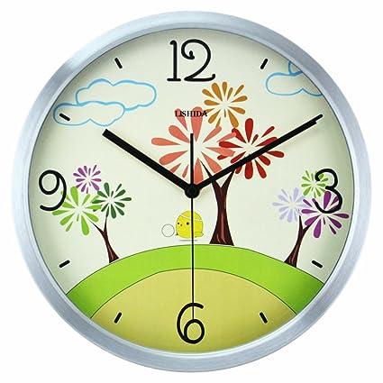 Relojes de pared infantiles/Dibujos animados gráficos de pared/Salón reloj de cuarzo silenciosa