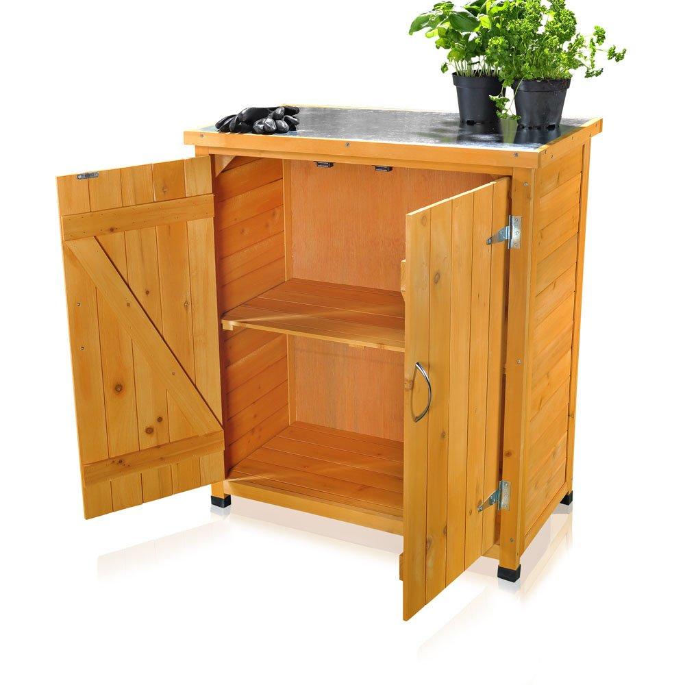 Gartenschrank Holz gartenschrank geräteschrank mit 2 türen 75 cm 40 cm 90 cm b x