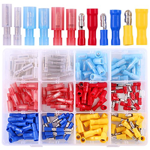 - Hilitchi 150-Pcs 24-10 AWG Assorted Insulated Mixed Nylon Female Male Bullet Butt Wire Crimp Terminals Connector Assortment Kit