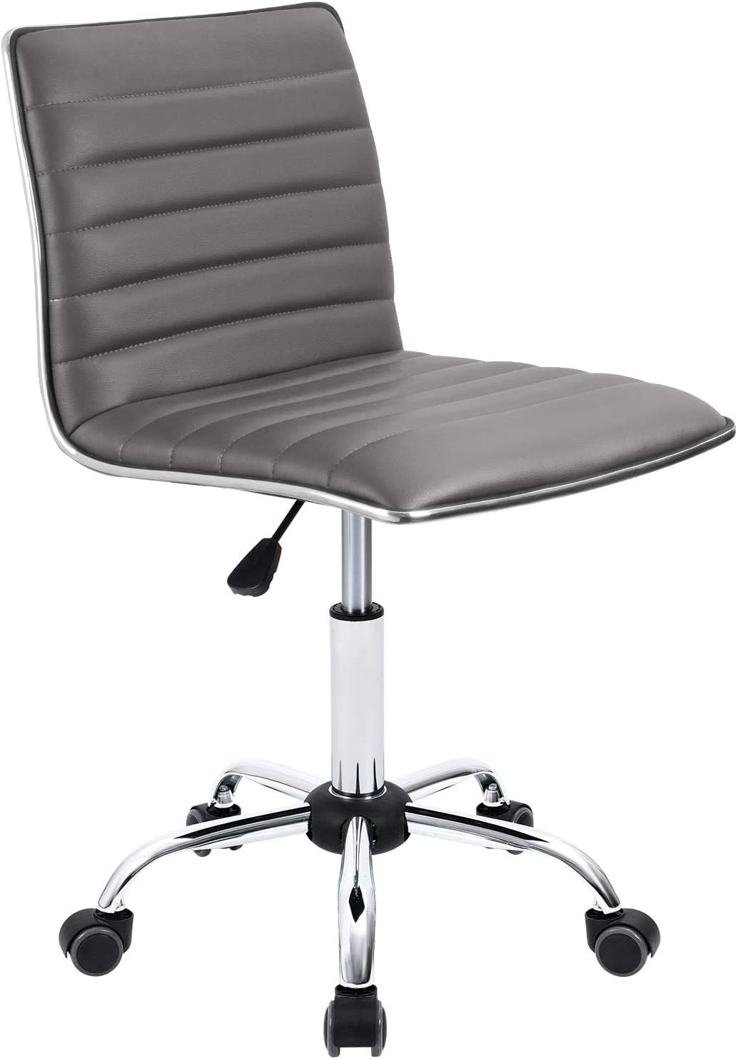 Furmax Mid Back Task Chair,Low Back Leather Swivel Office Chair,Computer Desk Chair Retro with Armless Ribbed Grey