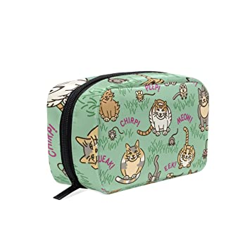 d96206f1358c Amazon.com : MAPOLO Cats And Critters Handy Cosmetic Pouch Clutch ...