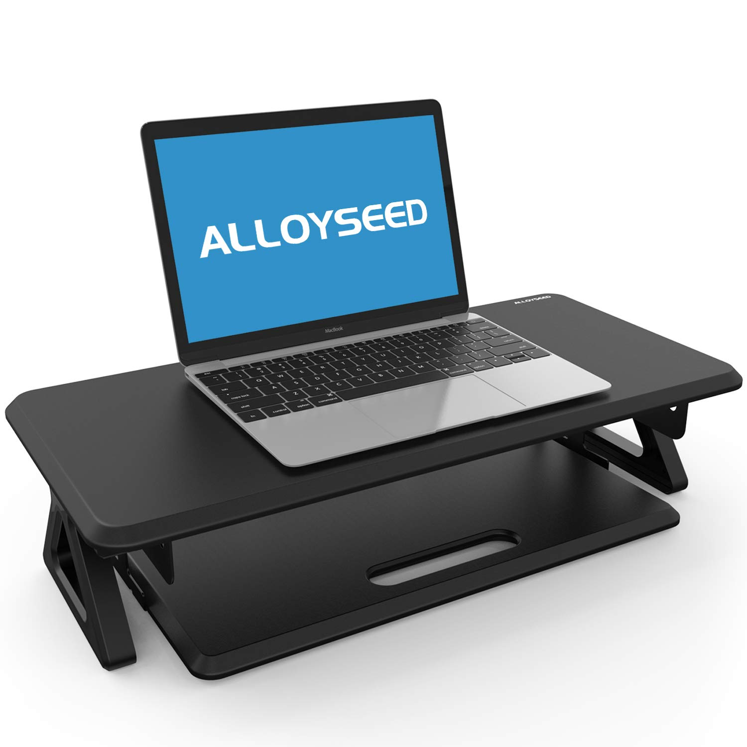 Alloyseed Monitor Stand Riser with Smooth in and Out Keyboard Tray, Laptop Computer Screen Desk Shelf for TV Printer 24.8\