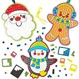 Kits décorations pour sapin de Noël en mosaïque que les enfants pourront fabriquer et suspendre (Lot de 5)