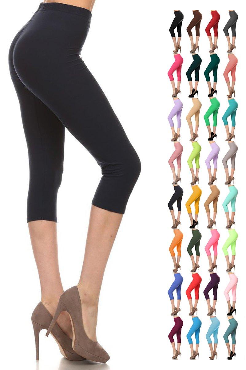Leggings Depot Women's Popular Basic Capri Cropped Regular and Plus Solid High Waist Leggings (Plus (Size 12-24), Navy)