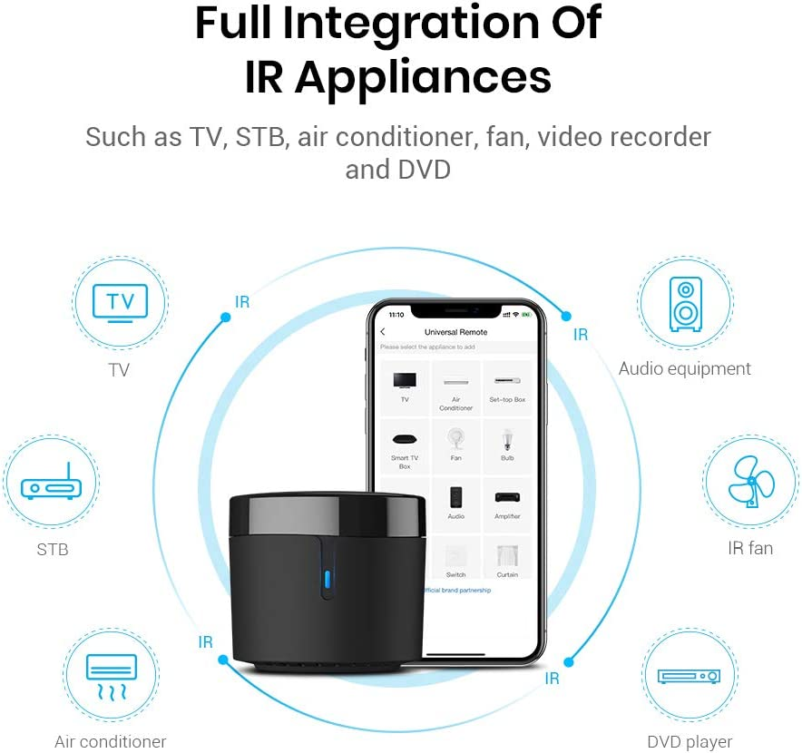 BroadLink Smart Home Hub-WiFi Remote Control IR Blaster for Smart Life Home Automation, TV Remote, Works with Alexa, Google Home, IFTTT (RM4 Mini) 61lqYBZsFFL