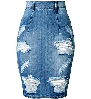 5b7a5d21656c ECHOINE Women Distressed Stretch High Waist Knee Length Denim Pencil Skirt