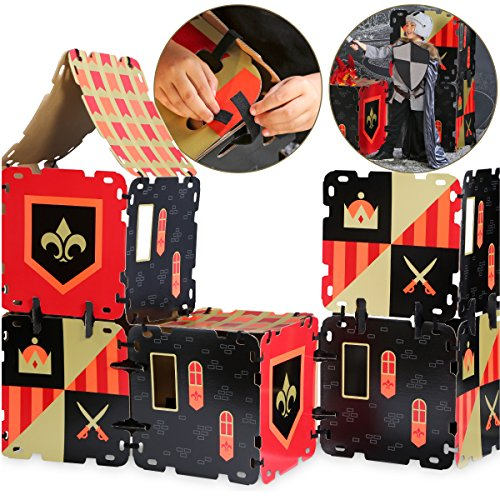 FAO Schwarz 16 Piece Toy Cardboard Fort Building Set, Indoor/Outdoor Play Construction, Lightweight/Durable Easy Assembly Design W/ Reusable Adhesive Straps, an Educational STEM Gift for Children (Cardboard Toys)