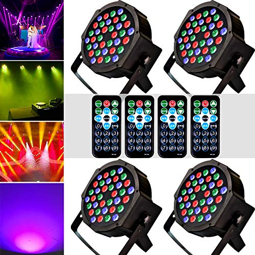 KOOT Stage Par Lights DJ Disco Lighting 36 LEDS, Sound Activated Strobe Lights with Magic RGB Effect by Remote and DMX Control for Karaoke Club Bar Wedding Show (4 Pack) ()