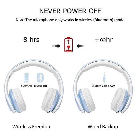 LOBKIN Bluetooth para auriculares con 3 Modo Luz Led estéreo de música plegable Sobre-oído sonido de alta fidelidad, construido en llamadas inalámbricas ...