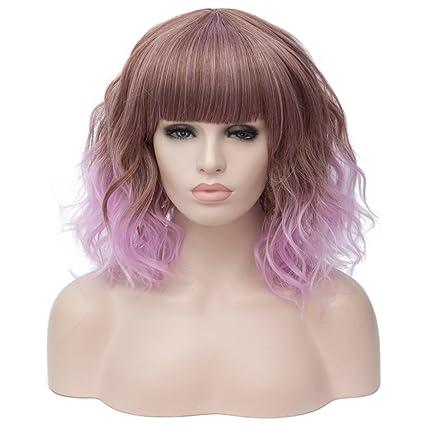 labeauté Max belleza mujeres Cosplay Peluca Disfraz de pelo Ombre onda corto rizado pelucas completa de