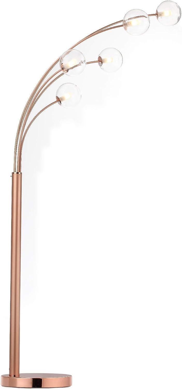 Modernluci Stehlampe 5 flammig Bogenlampe Arc LED Stehleuchte Glas Kugel Bogenleuchte Standleuchte, mit Marmorfuß und Fußschalter, inklusive LED 5x 3,5 W, Höhe 201 cm, Messing Kupfer