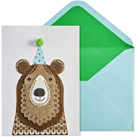 NIQUEA.D Happy Birthday Card, Bear with Hat, Layered Laser (NB-0027)