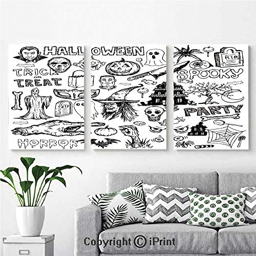 3PCS Triple Decoration Painting Wall Mural Hand Drawn Halloween Doodle Trick or Treat Knife Party Severed Hand Decorative Living Room Dining Room Studying Aisle Painting,16