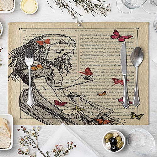 memorytime Animal Girl Book Page Heat Insulated Pad Kitchen Dining Table Mat Placemat Decor Kitchen Dining Supplies - 2# by memorytime (Image #8)