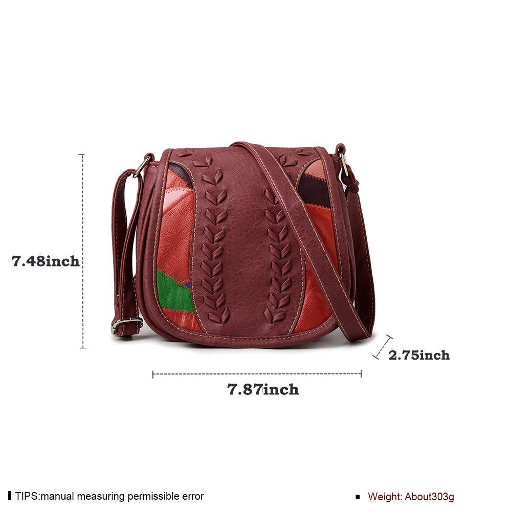 Prime Sale Day Deals Week 2018-Handicrafts Women's Saddle Bag Vintage Style  Genuine Leather Cross Body Shoulder Bag Handmade Purse for Women (Red)