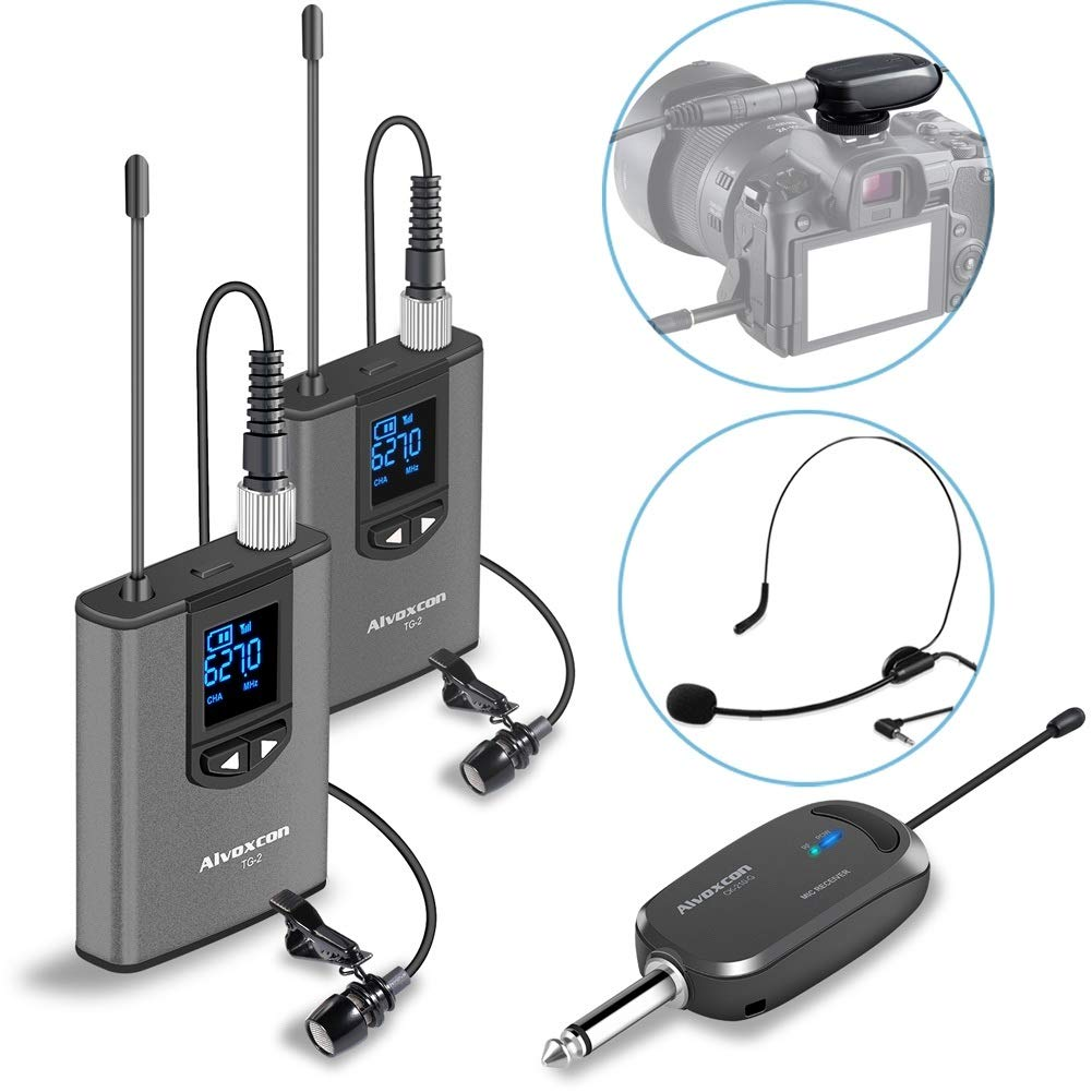 Wireless Headset Lavalier Microphone System -Alvoxcon Dual Wireless Lapel Mic for iPhone, DSLR Camera, PA Speaker, YouTube, Podcast, Video Recording, Conference, Vlogging, Church, Interview, Teaching by Alvoxcon