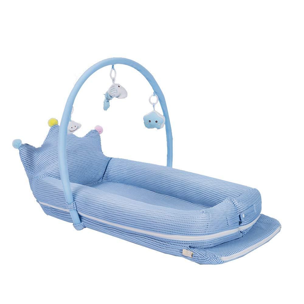 HANSHAN ベビーベッド ベビーベッド、ポータブルベッドベッドベビーベッド抗圧力多機能ベッド新生児バイオニックベッド3色03歳45×20×4インチ (色 : 青)  青 B07RFH9NZD