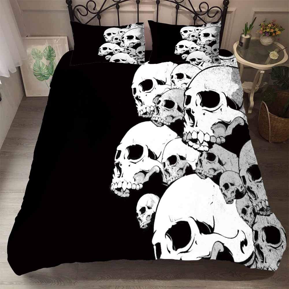 Duvet Cover Set No Sheets Skull Terror 3D Painting Soft Cotton Bedding Set Terrible Quilt Cover ,Blue,Single 53x83in