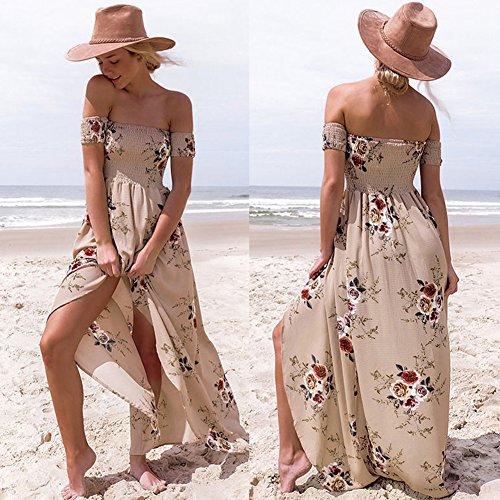 Impreso Fiesta Un JIALELE Larga Vestido Una Vestido Para Vestidos Falda Fiesta Mujer De Mujer Con Caqui wTgqIzT