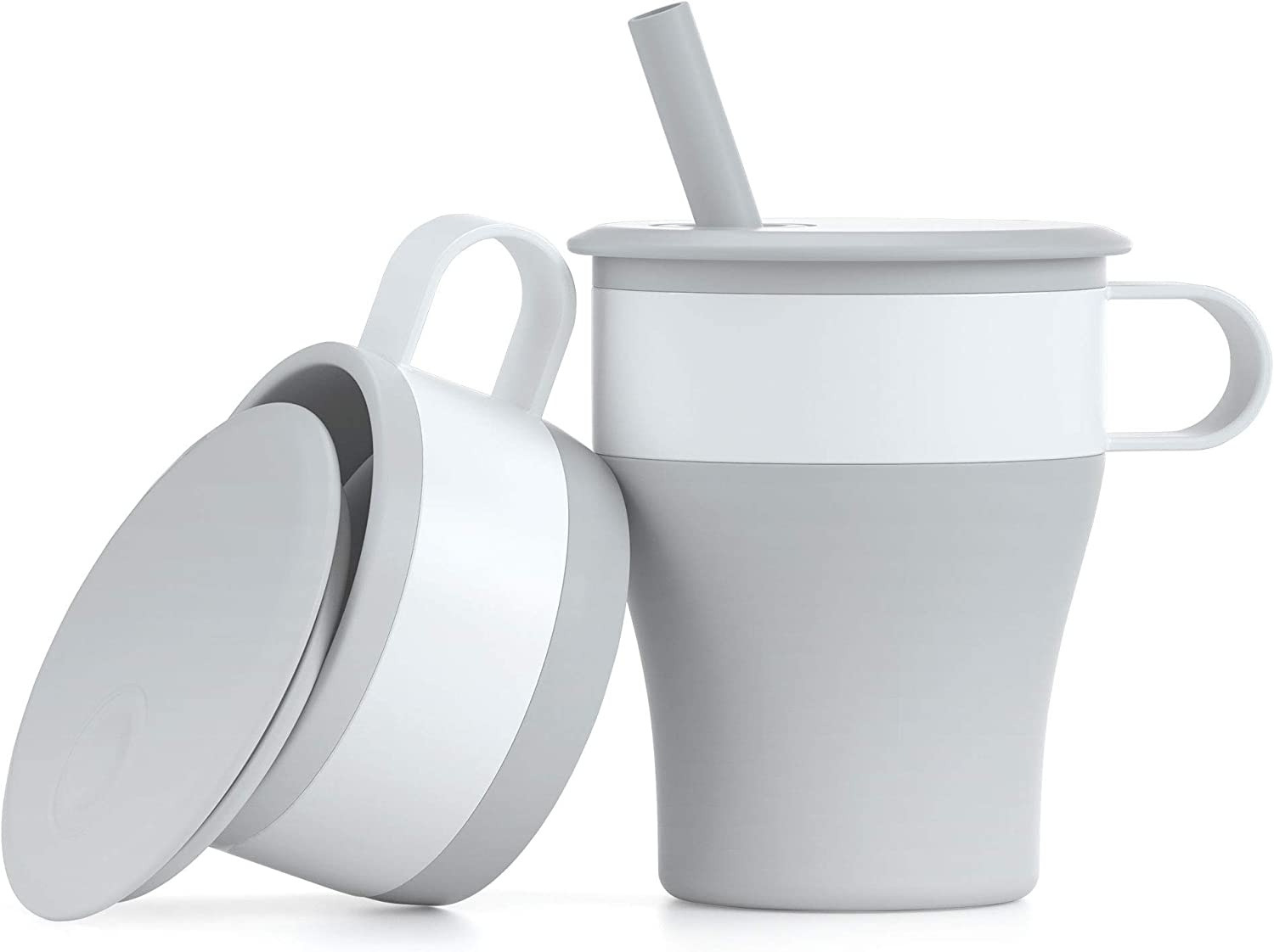 MommyLove Collapsible Cups with Handle & Straw (16oz,BPA Free,Food Grade Silicone) Foldable Travel Coffee Mug - LightGrey