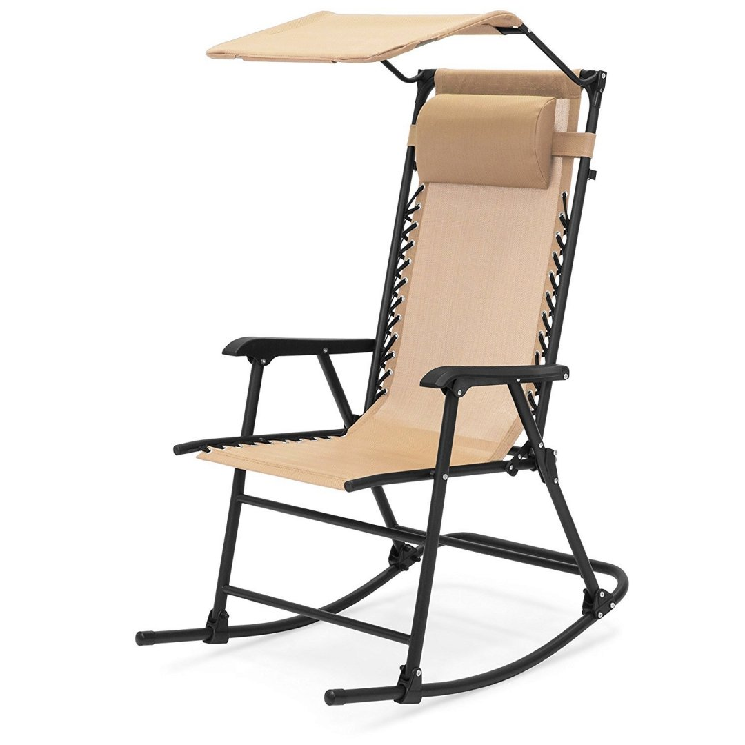 Portable Folding Rocking Chair Comfortable Headrest w/Sunshade Canopy Solid Powder-Coated Finish Steel frame Porch Rocker Zero Gravity Seats Outdoor Patio Furniture - Tan #1924